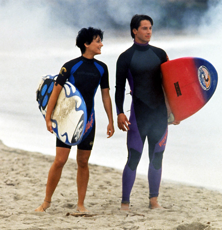 Lori Petty and Keanu Reeves: lovers in 'Point Break,' partners in surfing