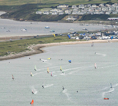 Portland Harbour: traffic jam windsurfing
