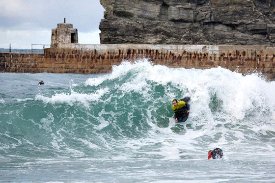 Portreath Harbour Wall Frenzy: dangerous duck dive pictured