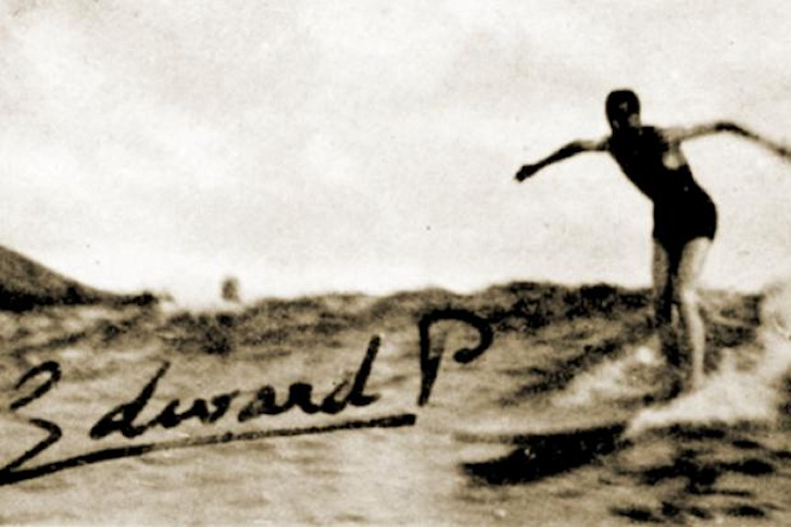 Edward, Prince of Wales: the first photo of a Briton riding waves