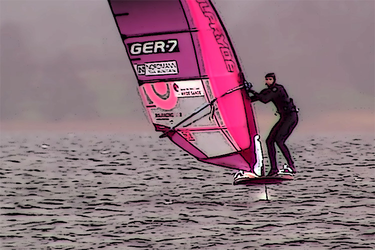 "Nicolas Prien tests ""the weirdest windsurf board I've ever seen"""