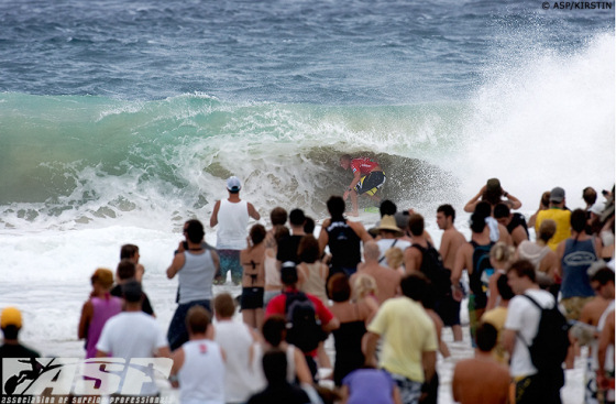 Quiksilver Pro Gold Coast: Mick Fanning tries to hide from the crowd