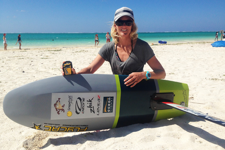Gina Hewson and the RescueMe PLB1: kiteboarders should carry a personal locator beacon | Photo: Ocean Signal