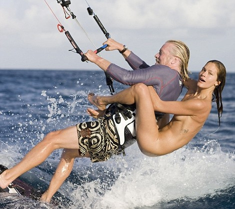 Richard Branson enjoys kiteboarding with Denni Parkinson