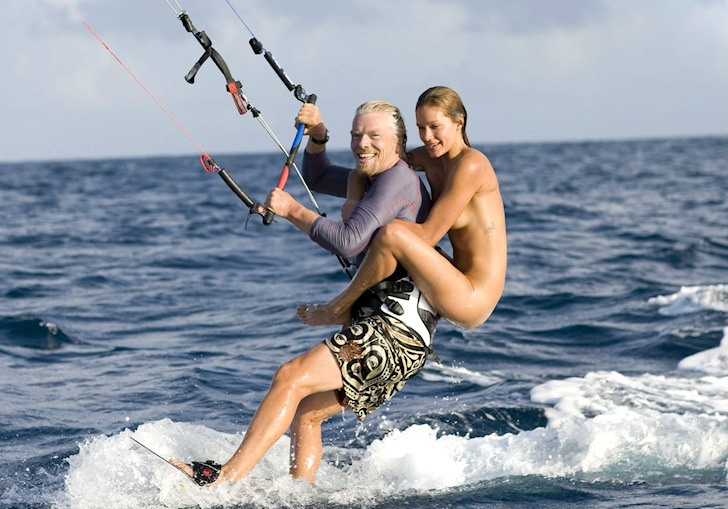 Sir Richard Branson decided to kiteboard with naked model Denni Parkinson on ...