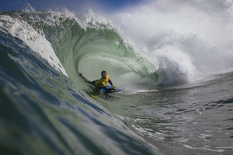 Sacha Specker: barreled and victorious | Photo: Simon Heale
