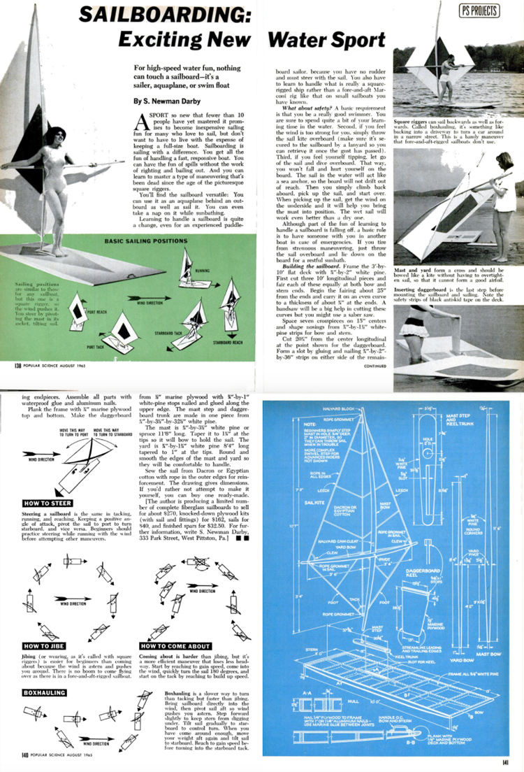 Popular Science, August 1965: Sidney Newman Darby Jr. shared his innovative sailboard with the world