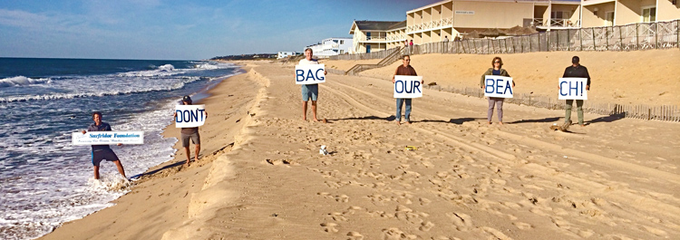 Montauk: Surfrider Foundation protests against geotextile bags | Photo: Surfrider