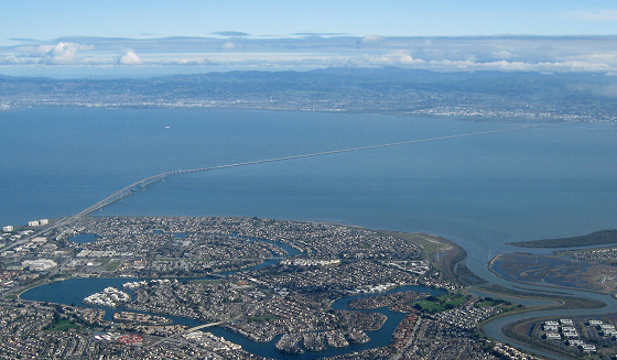 San Mateo Bridge: night swimming region