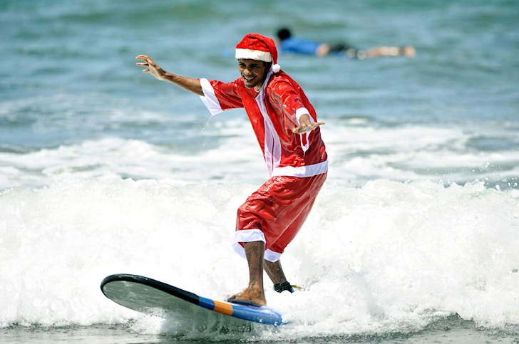 Santa Claus: he has already got a new surfboard