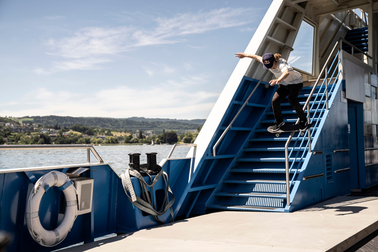 Simon Stricker: skating the Swiss ferry's handrails | Photo: Shutterstock