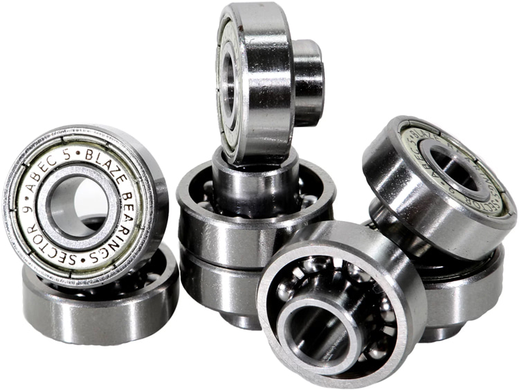 Bearings: rings with small steel balls inside that allow wheels to spin smoothly on the axle