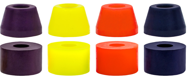 Bushings: the small rubber cups that allow the skateboard to turn
