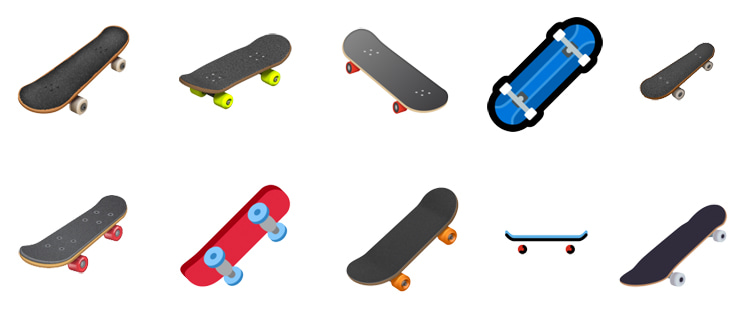 Skateboard emojis: there are different icons for different platforms