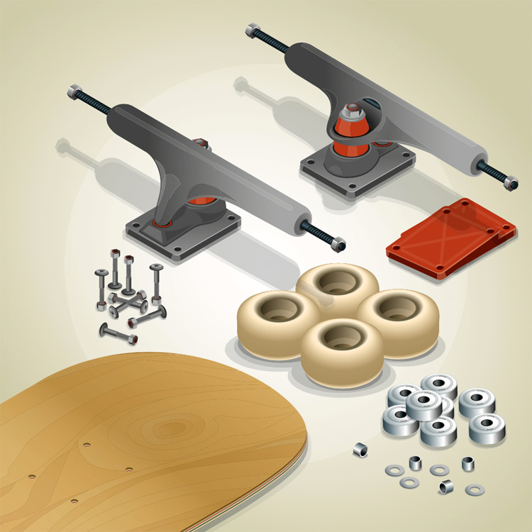 Skateboarding: a complete skateboard is comprised of 14 different parts and components | Illustration: Shutterstock