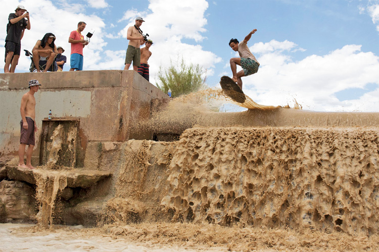 Virgin River Waterfall: Adrien Raza goes for it | Photo: DB Skimboards