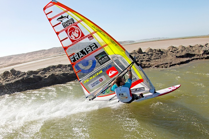 Slalom windsurfing: Albeau prepares to click the speed button