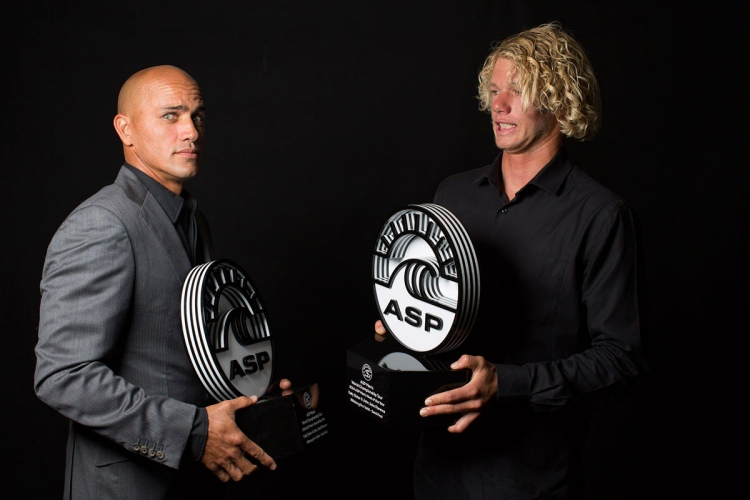 Kelly Slater and John John Florence: Heat of the Year 2014 | Photo: Kirstin Scholtz/WSL