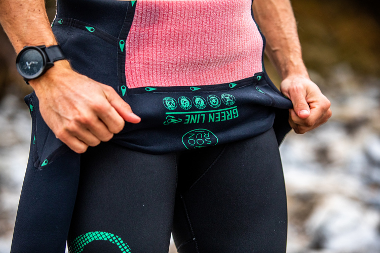 Soöruz Green Line: the wetsuit features fully taped inside seams, and outside recycled nylon and polyester fabric | Photo: Soöruz