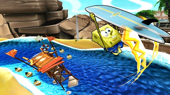 SpongeBob: a keen surfer and skater