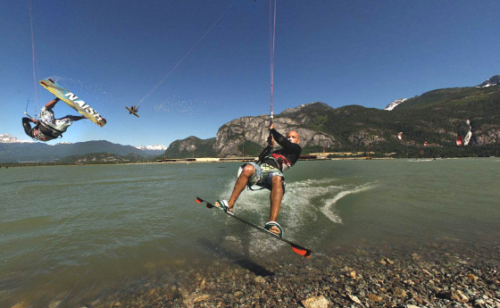 Kiteboarding near the Squamish River