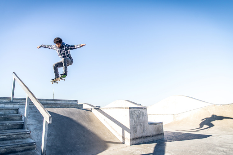 Shooting skate videos: in a stair set scenario, make sure to tilt the camera down to show the length of the stairs | Photo: Shutterstock