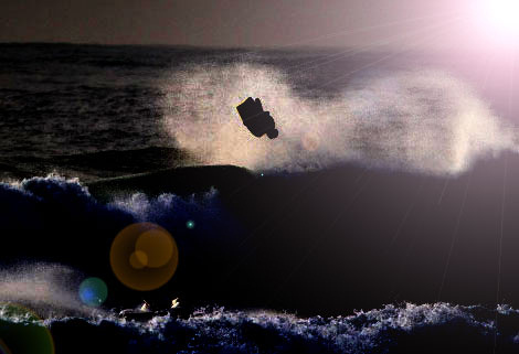 Night bodyboarding: the lights can't fail