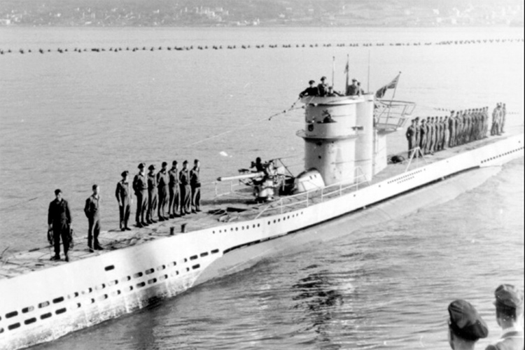 U-963: the German submarine was scuttled off the coast of Nazaré on May 20, 1945