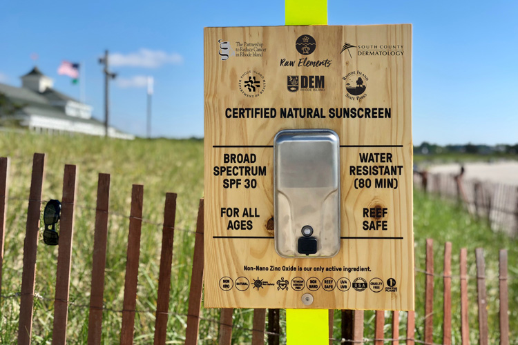 Sunscreen dispensers: Rhode Island is offering complimentary sunscreen stations at our public recreation facilities | Photo: Raw Elements