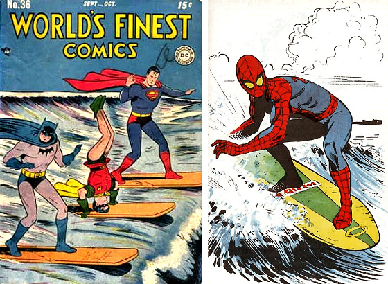 Surfing super heroes: Batman, a talented Robin, Superman and Spider-Man