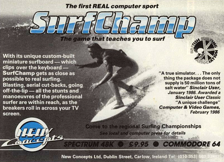 Surf Champ: the computer game was developed by Norman McMillan, John Frayne and Susan McKenna-Lawlor