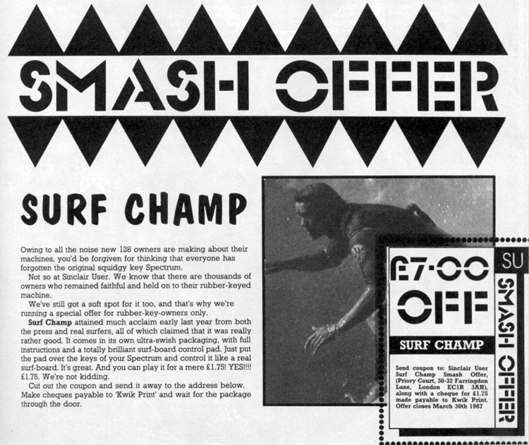 Surf Champ: the game was sold for 11.95 pounds