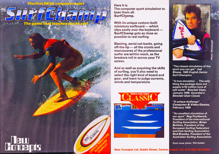 Surf Champ: the world's first surfing simulation game was release in 1985 by New Concepts