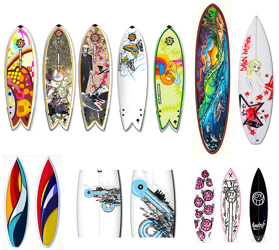 Surfboard art: colors, shapes and creative drawings