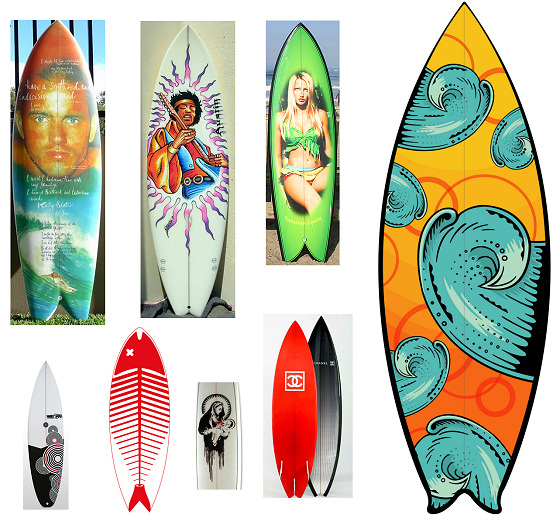 Surfboard art: girls, rock stars and fashion logos
