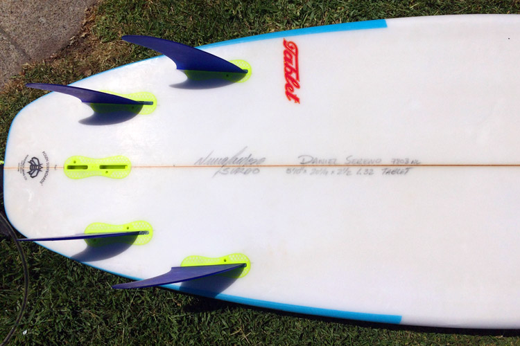 Surfboards: shapers write the dimensions on the bottom, next to the stringer