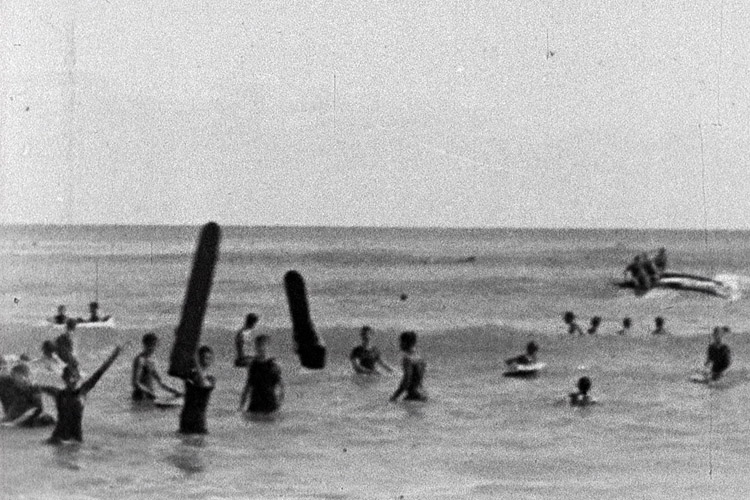 Panoramic View | Waikiki Beach Honolulu: surfboards were extremely popular in Hawaiian beaches of the early 20th-century