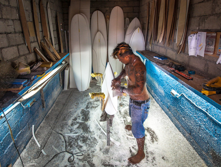 Surfboard shaper: hands that make waves