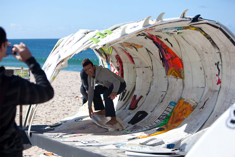 The endless barrel: surfboard waste is always useful | Photo: Rip Curl Pro Portugal