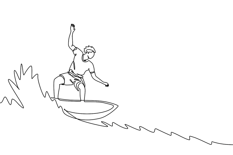 Surfboard drawing: use a pencil to sketch the outline and then use a pen or marker to highlight the lines | Illustration: Shutterstock
