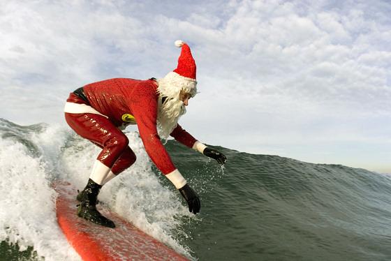 Christmas In Australia Santa.Santa Claus Is A Professional Surfer