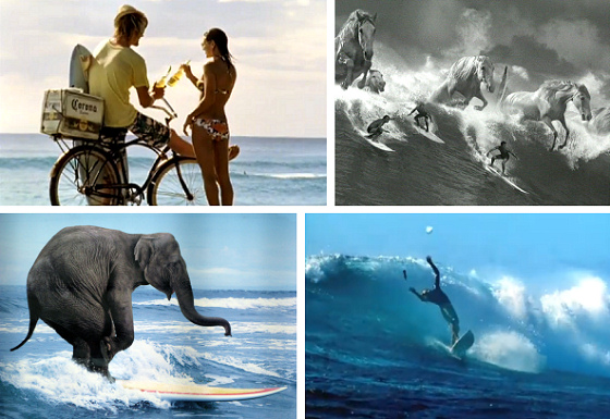 Surfing commercials: surfer and waves are perfect for selling beer, consulting and drinks