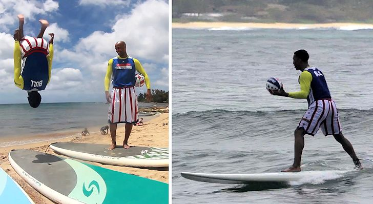 Harlem Globetrotters: who said basketball players can't surf?