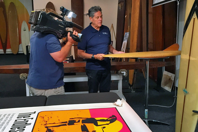 Paul Strauch: showing historical surf artifacts that will go to the National Museum of American History | Photo: SHACC