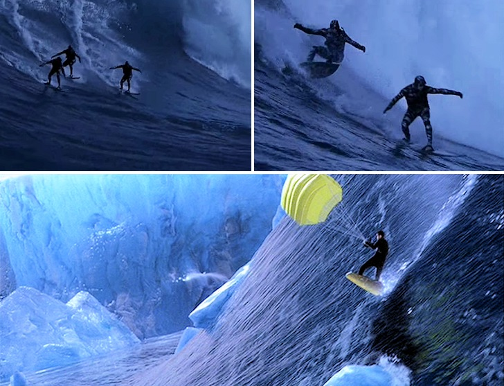 007 Die Another Day: James Bond learning to surf in Jaws