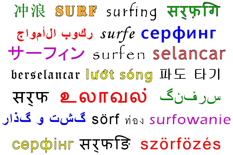 Surfing: learn how to write it down in 35 languages