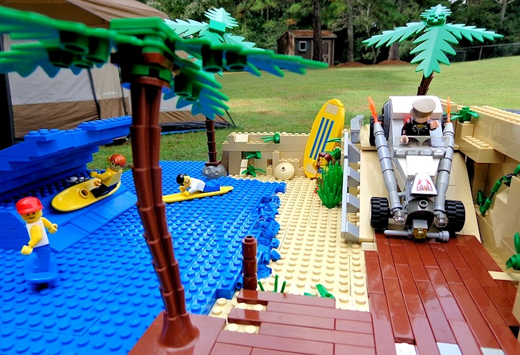 Surfing in Legoland: cowboy night surfers