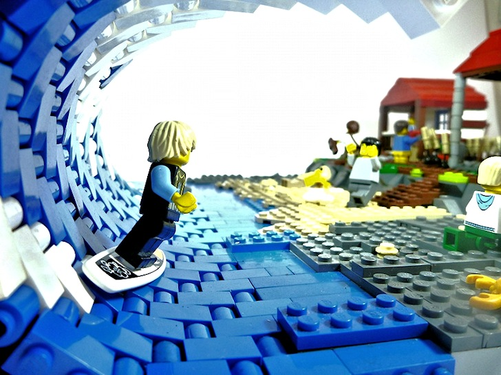 Surfing in Legoland: there is a beer waiting at the end of the ride