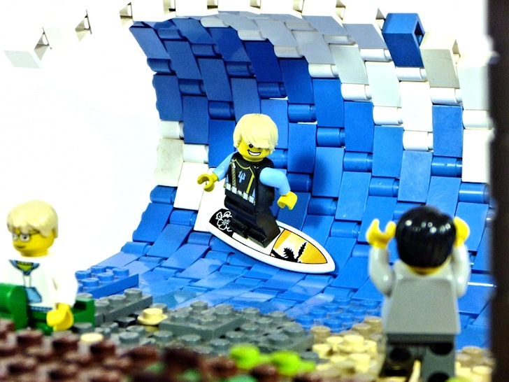 Surfing in Legoland: the bricks are pumping six-foot waves, dude