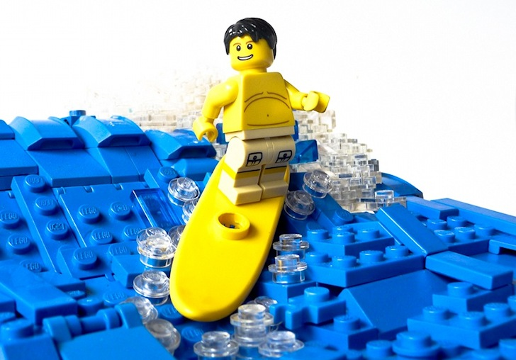 Surfing in Legoland: warm water and boardshorts